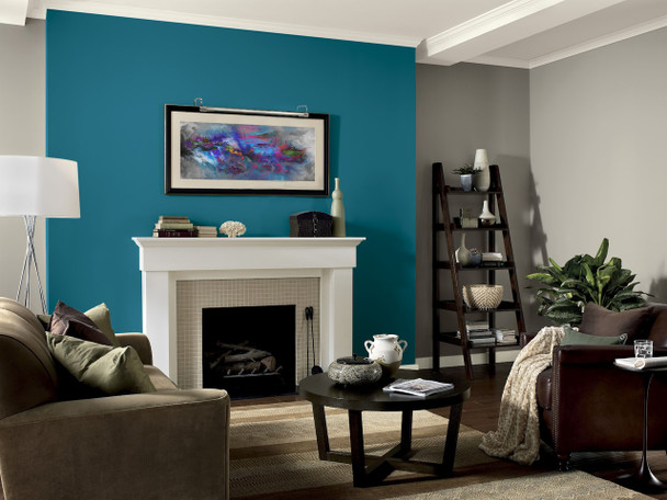 Example: Tru-Slim LED Picture Light in Satin Nickel  Mounted on Painting in Living Room