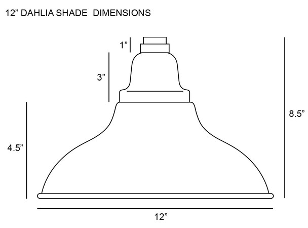 """Shade Dimensions for 12"""" Dahlia LED Sign Light with Rustic Arm in Black"""