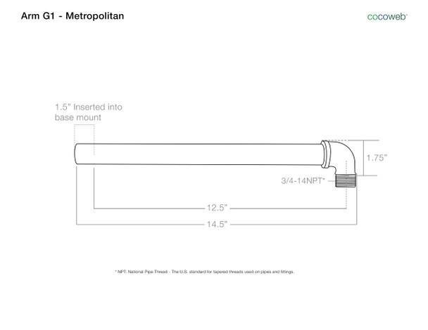 "Arm Dimensions  for 12"" Oldage LED Sign Light with Metropolitan Arm in Cobalt Blue"
