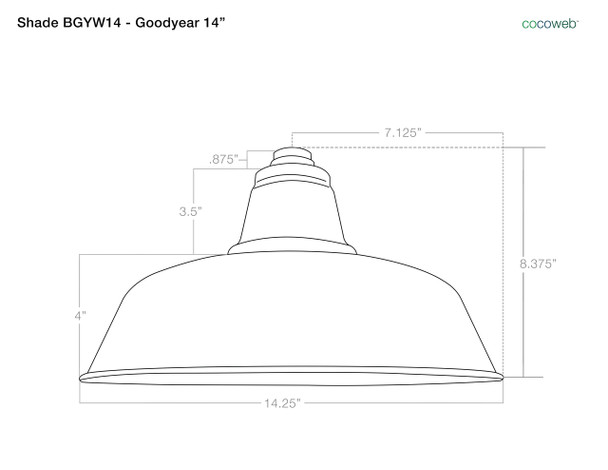"""Shade Dimensions for 14"""" Goodyear LED Sign Light with Industrial Arm in Yellow"""