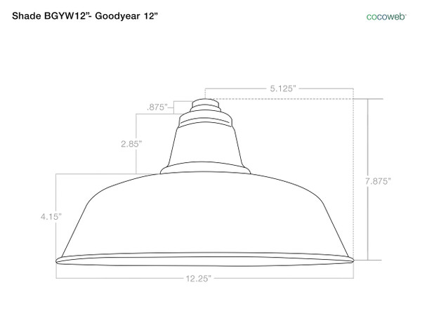 "Shade Dimensions for 12"" Goodyear LED Sign Light with Contemporary Arm in Galvanized Silver"