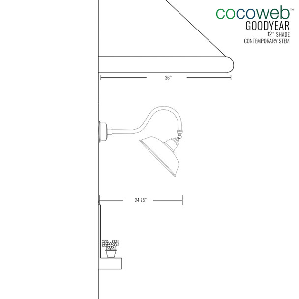 "Dimensions for 12"" Goodyear LED Sign Light with Contemporary Arm in Galvanized Silver"