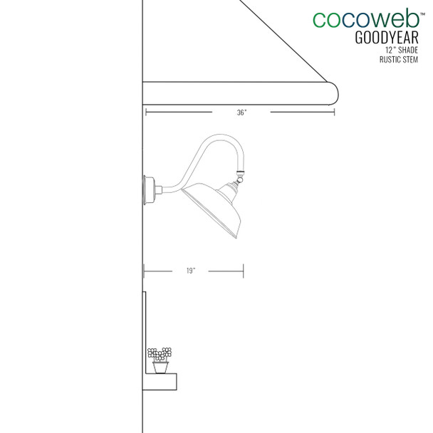 """Dimensions for 12"""" Goodyear LED Sign Light with Rustic Arm in White"""