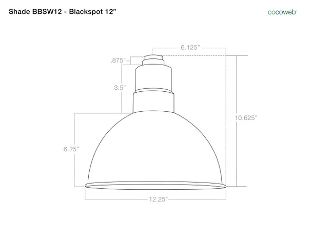 """Shade Dimensions for 12"""" Blackspot LED Sign Light with Contemporary Arm in Cherry Red"""