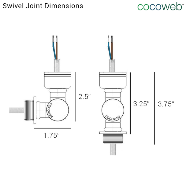 """Swivel Joint Dimensions for 8"""" Blackspot LED Sign Light with Rustic Arm in White"""