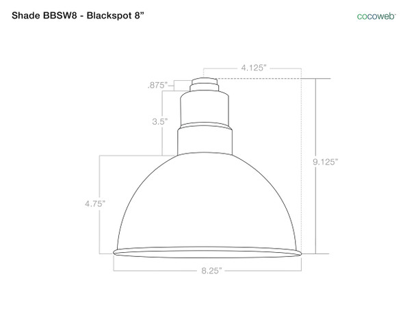 """Shade Dimensions for 8"""" Blackspot LED Sign Light with Rustic Arm in White"""