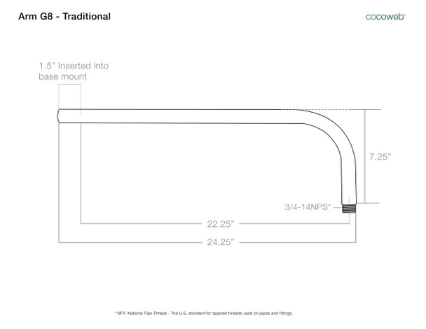 """Arm Dimensions for 10"""" Blackspot LED Sign Light with Traditional Arm in Mahogany Bronze"""