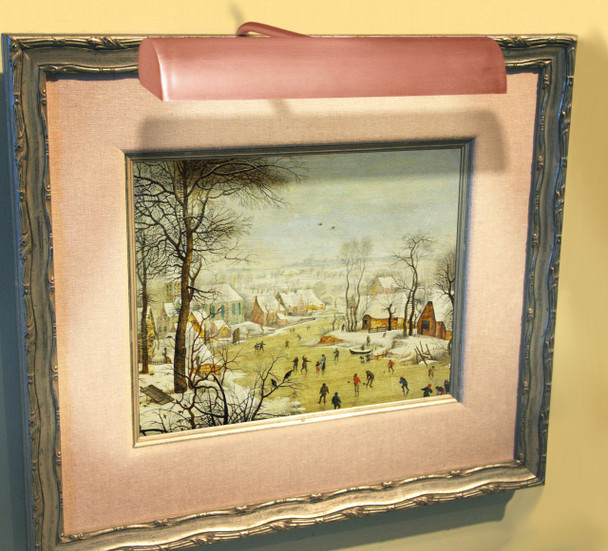 Example: Classic LED Picture Light in Rose Gold Mounted on Painting