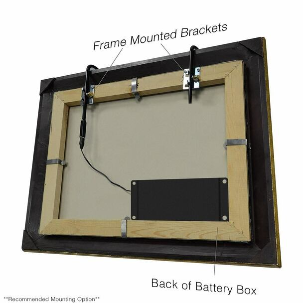 Recommended Mounting Options: LED Picture Light Frame Mounted Brackets and Battery Pack