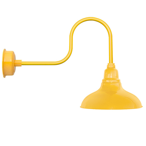 "12"" Dahlia LED Barn Light with Rustic Arm in Yellow"