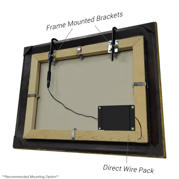 Recommended Mounting Option: LED Picture Light Frame Mounted Bracket and Wire Pack
