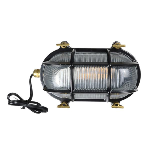 Ceduna Nautical Bulkhead Light in Black (AM-G526-BK)