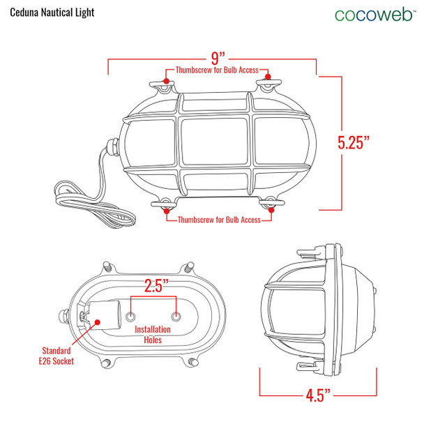 Ceduna Nautical Bulkhead Light in Black (AM-G526-BK) dimensions