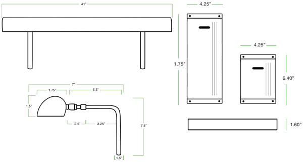 LED Picture Light and Battery Pack Dimensions