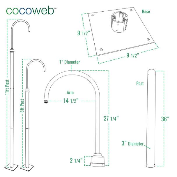 Cocoweb Lamp Post Dimensions