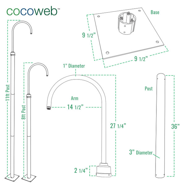 Cocoweb Lamp Post Dimensions