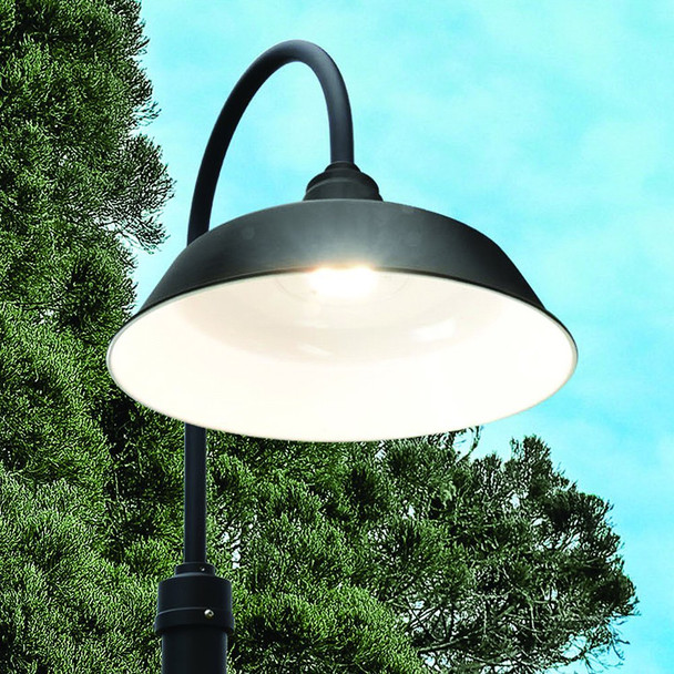 "Shade Under View of 96"" Oldage Garden Post Lights with 14"" Shade - Solid Bronze"