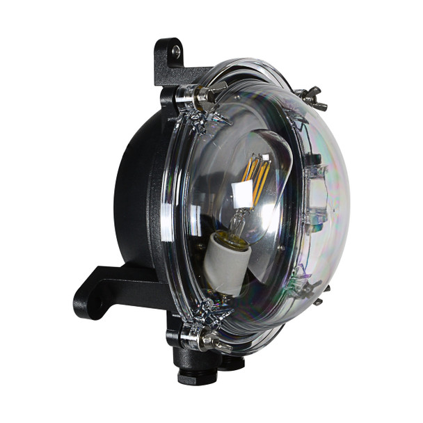 Side view of Busselton Nautical Wall Sconce in Black (AM-D150-BK)