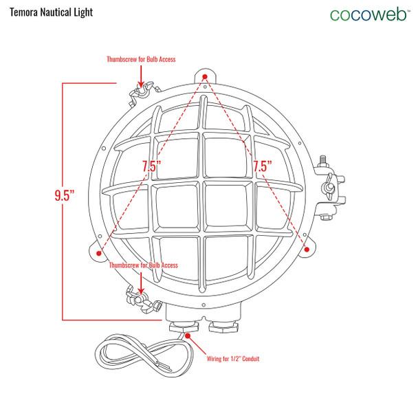 Temora Bulkhead Wall Sconce in Original Brass (AM-Q883-BR) front dimensions