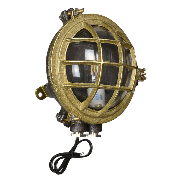 Side view of Temora Bulkhead Wall Sconce in Original Brass (AM-Q883-BR)