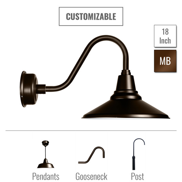 "Customizable 18"" Calla Barn Light in Mahogany Bronze (00BCA-18MB)"