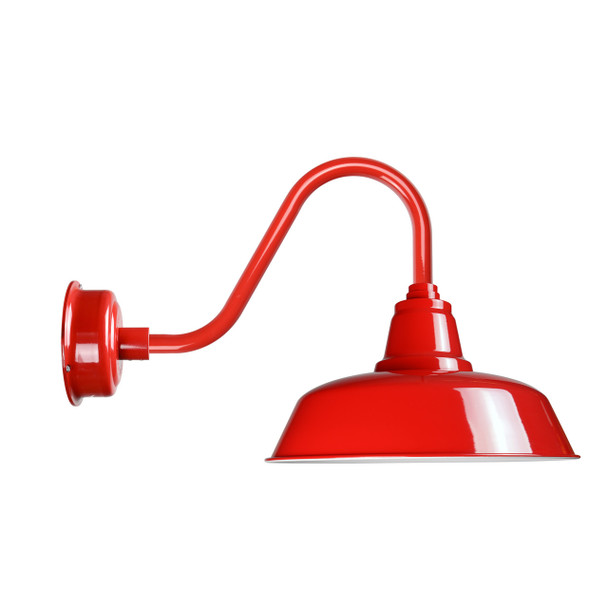 """Cocoweb Goodyear Barn Light 14"""" in Cherry Red with Rustic Arm"""