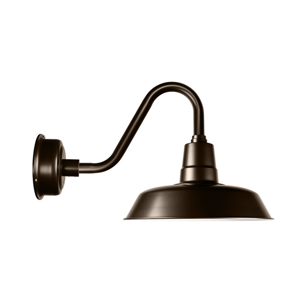"Cocoweb Oldage 12"" Barn Light in Mahogany Bronze with Vintage Arm"