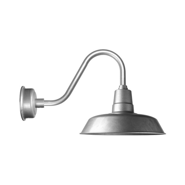 """Cocoweb Oldage 18"""" Barn Light in Galvanized Silver with Rustic Arm"""