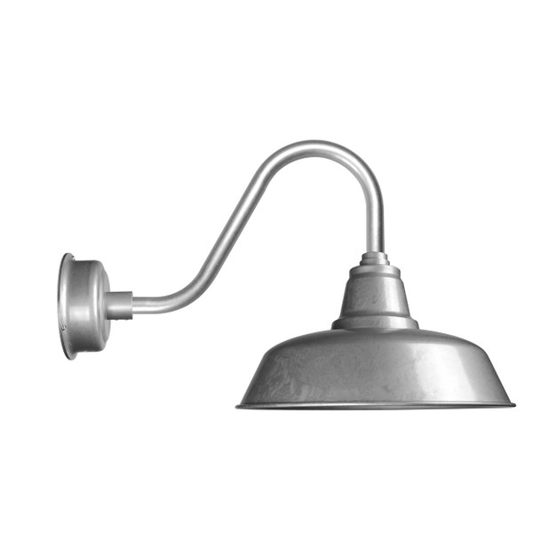 """Cocoweb Goodyear 12"""" Barn Light in Galvanized Silver with Rustic Arm"""