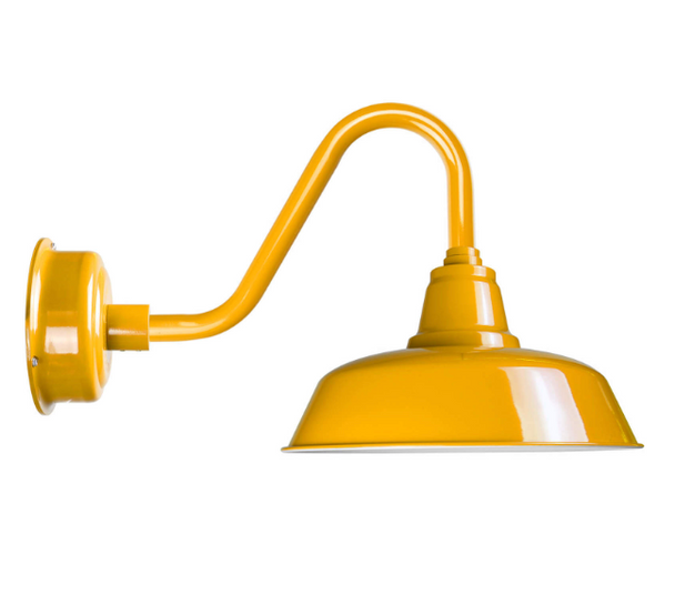 """Cocoweb 14"""" Goodyear Barn Light in Yellow with Vintage Arm"""