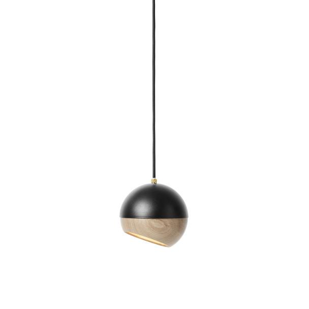 Ray Pendant Lamp - Black Painted Steel, Natural FSC certified Oak Shade, Medium