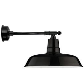 "14"" Oldage LED Barn Light with Victorian Arm - Black"