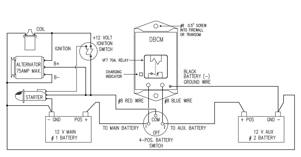 12 volt dual battery wiring diagram dbcm 75 dual battery charging module 75 amp  dual battery charging module 75 amp
