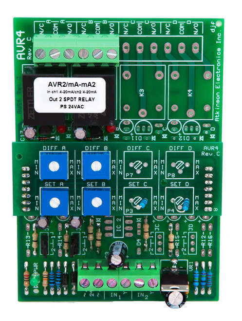 AVR4C/XXX/2CH:  2 Channel Adjustable Voltage Sensitive Relay