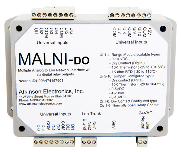 MALNI-DO  Multiple Analog to Lon Network Interface with 6 Digital Outputs
