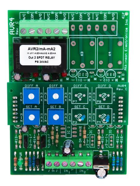 AVR4C/XXX/2CH:  2 Channel Adjustable Voltage Sensitive Relay