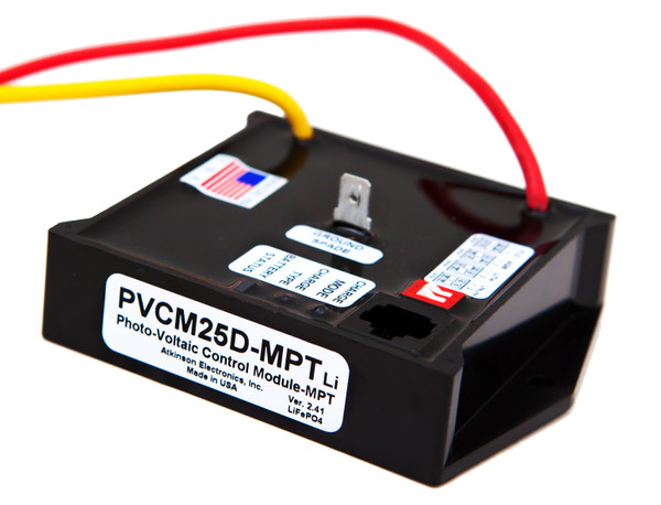 SunExplorer PVCM25D-MPTLi:  Solar Charge Module programmed for Lithium Batteries using  Multi Point Tracking & PWM