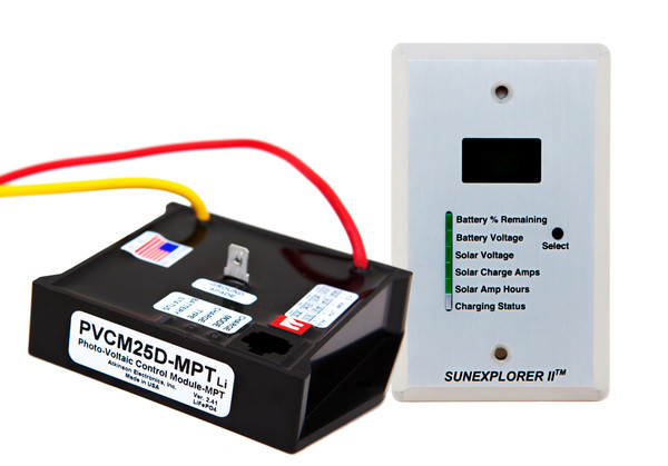 SunExplorer II 25D-MPTLi: 25Amp  Kit programmed for Lithium Batteries using Multi Point Tracking & PWM with Display