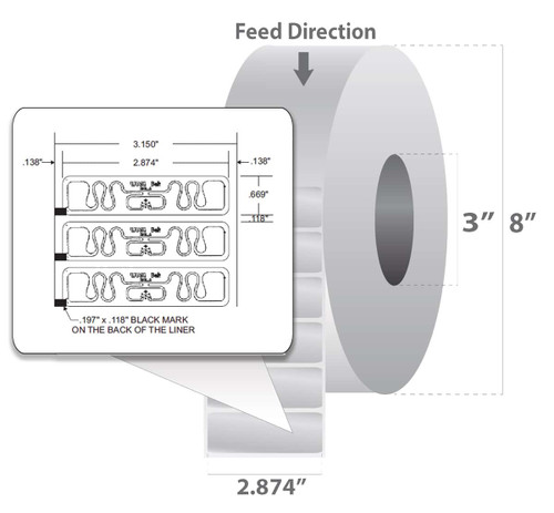 "Zebra 2.874"" x 0.669"" Z-Perform 1500T RFID Label (Case) - 10015350"