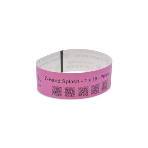 """Zebra 1"""" x 10"""" Z-Band Splash Wristband (Purple) (Case) - 10012717-7K"""