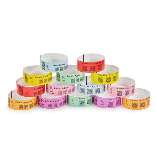 """Zebra 1"""" x 10"""" Z-Band Fun Wristband (Multicolor) (Case) - 10012713-WK"""