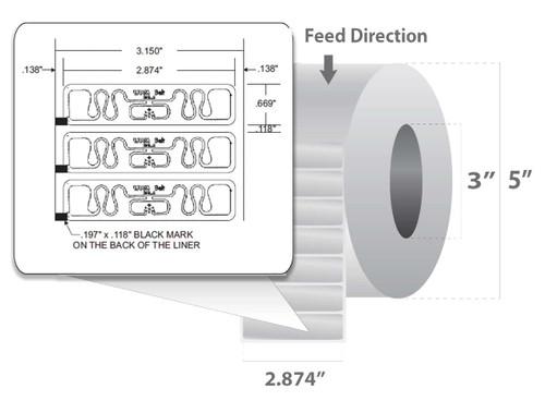 "Zebra 2.874"" x 0.669"" Z-Perform 1500T RFID Label (Case) - 10018352"