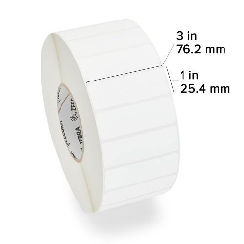 "Zebra 3"" x 1"" PolyPro 4000T Hi-Tack Label (Case) - 10013984"