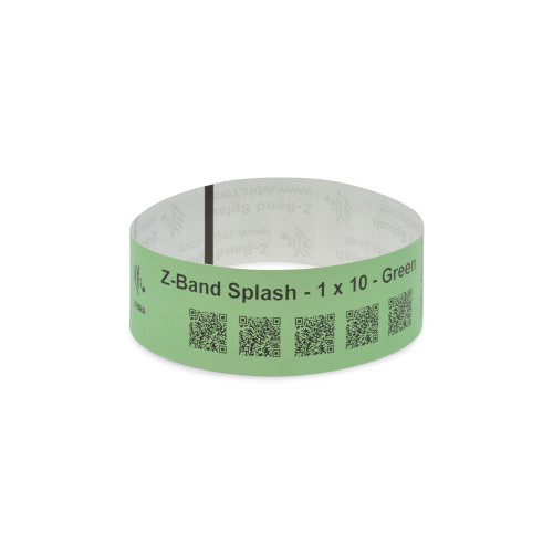 "Zebra 1"" x 10"" Z-Band Splash Wristband (Green) (Case) - 10012717-4K"