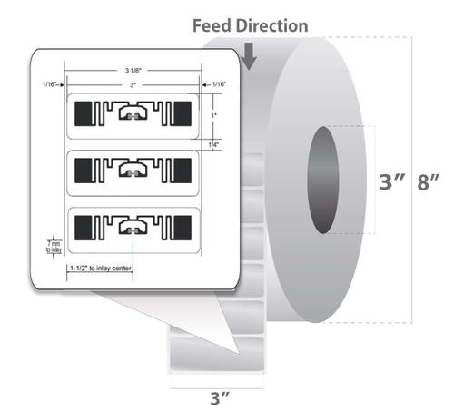 "Zebra 3"" x 1"" Z-Perform 1500T RFID Label (Case) - 10026447"