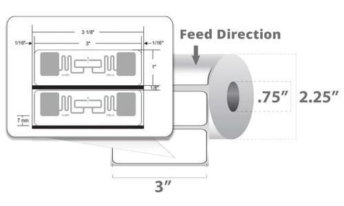 "Zebra 3"" x 1"" PolyPro 4000D RFID Label (Case) - 10026635"