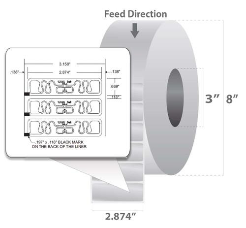 "Zebra 2.874"" x 0.669"" Z-Perform 1500T RFID Label (Case) - 10026623"