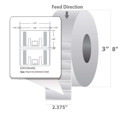 "Zebra 2.375"" x 1.375"" Z-Perform 1500T RFID Label (Case) - 10026448"