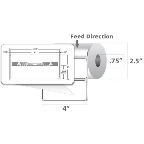 "Zebra 4"" x 2"" Z-Perform 2000D RFID Label (Case) - 10027809"