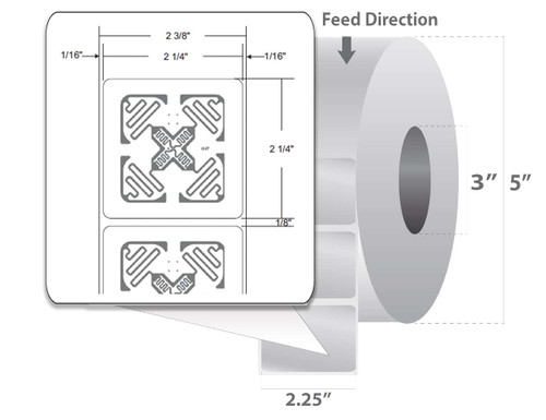 "Zebra 2.25"" x 2.25"" PolyPro 3000T RFID Label (Case) - 10026456"